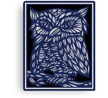 Brezina Owl Blue White Black Canvas Print