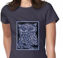 Brezina Owl Blue White Black Womens Fitted T-Shirt