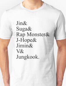 BTS Bangtan Boys Member Stage Names T-Shirt