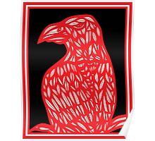 Setter Eagle Hawk Red White Black Poster