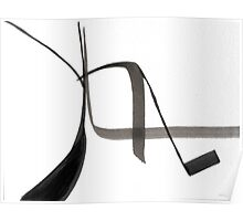 Abstract Calligraphic Design, Black and White Symbol, Japanese Inspired Art Poster