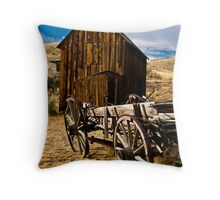 Wagon and shed in Bannack, a Montana ghost town Throw Pillow