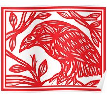 Seufer Magpie Red White Poster