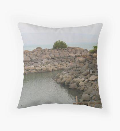Tiberias stone at Lake Kinneret Throw Pillow