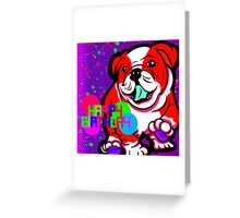 Happy Bulldog Puppy Red and White  Greeting Card