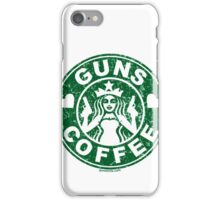 I Love Guns and Coffee! Not the Starbucks logo, but close. iPhone Case/Skin