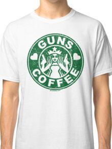 I Love Guns and Coffee! Not the Starbucks logo, but close. Classic T-Shirt
