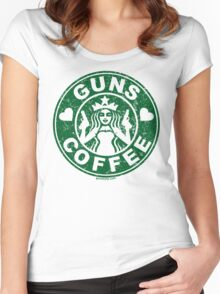 I Love Guns and Coffee! Not the Starbucks logo, but close. Women's Fitted Scoop T-Shirt
