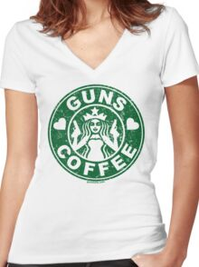 I Love Guns and Coffee! Not the Starbucks logo, but close. Women's Fitted V-Neck T-Shirt