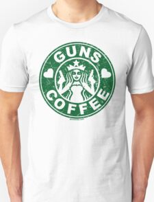I Love Guns and Coffee! Not the Starbucks logo, but close. Unisex T-Shirt