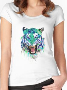 Tiger Force Teeth Face Women's Fitted Scoop T-Shirt