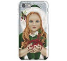 Christmas Yule Winter Holiday Girl with Dragon & Holly iPhone Case/Skin