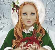Christmas Yule Winter Holiday Girl with Dragon & Holly by Alison Spokes