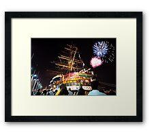 Tall ships 12 fireworks Framed Print