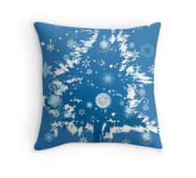"""Silent Night"" Christmas Card - Blue Decorative Christmas Tree Throw Pillow"
