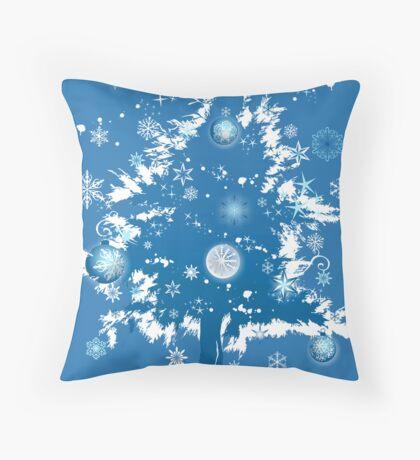 """Silent Night"" Christmas Card - Blue Decorative Christmas Tree Throw Pillow"