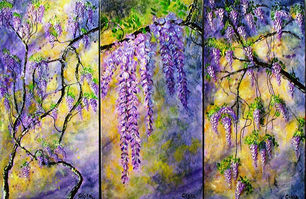 Wisteria Blooming - Triptych by Ciska