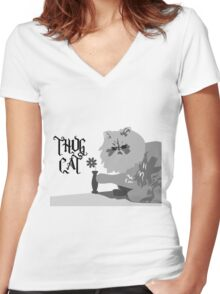 Thug Cat Women's Fitted V-Neck T-Shirt
