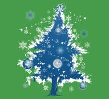 """Silent Night"" Christmas T-shirt - Blue Decorative Christmas Tree Kids Clothes"