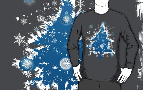 """Silent Night"" Christmas T-shirt - Blue Decorative Christmas Tree by ruxique"