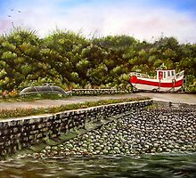 """""""Kilbaha Harbour, county Clare, Ireland"""" - Oil Painting by Avril Brand"""