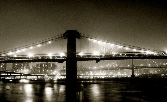 Brooklyn Bridge at night. 1985 by Daniel Sorine