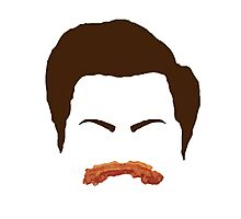Ron Swanson Bacon Mustache  Photographic Print