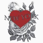 New York Tattoo Style Heart & Rose by Zehda