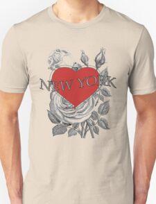 New York Tattoo Style Heart & Rose Unisex T-Shirt