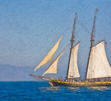 Impasto sytlized photo of the Tall Ship Spirit of Dana Point off Dana Point Harbor. by NaturaLight