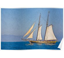 Impasto sytlized photo of the Tall Ship Spirit of Dana Point off Dana Point Harbor. Poster