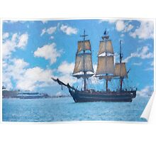 Impasto stylized photo of the Tall Ship HMS Bounty at the Festival of Sail in San Diego, CA US.   Poster