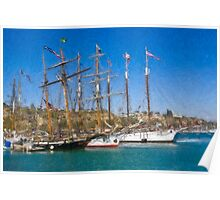 Impasto stylized photo of theTall Ship Exy Johnson, Tall Ship Lynx, Tall Ship Irving Johnson, and Tall Ship American Pride in Dana Point Harbor, CA US. Poster