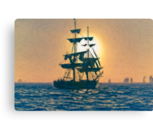 Impasto stylized photo of the Tall Ship Pilgrim sailing  off Dana Point, CA US. Canvas Print