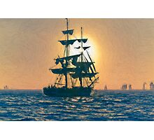 Impasto stylized photo of the Tall Ship Pilgrim sailing  off Dana Point, CA US. Photographic Print