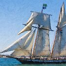 Impasto stylized photo of the Tall Ship Lynx at the Festival of Sail in San Diego, CA US.  by NaturaLight