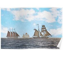 Impasto stylized photo of the Tall Ships American Pride, Californian, and Exy Johnson off Dana Point, CA US. Poster