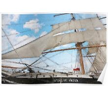 Impasto stylized  wide angle photo of the Tall Ship Star of India, owned by the San Diego Maritime Museum, CA. Poster