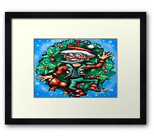 Christmas Elf w Wreath Framed Print