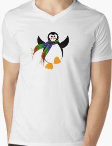 Winter Penguin Mens V-Neck T-Shirt