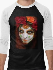 dia des los muertos- sugar skulls 3 Men's Baseball ¾ T-Shirt