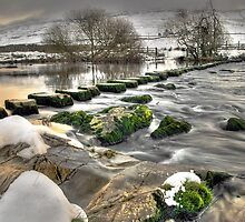 Stepping Stones over the River Doe by Steve  Liptrot