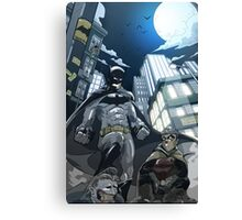 Batman, Robin and Gotham Canvas Print
