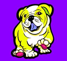 Happy Bulldog Puppy Yellow and White  by Sookiesooker