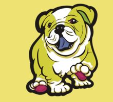 Happy Bulldog Puppy Yellow and White  Kids Clothes
