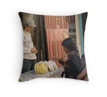 Tibetian girl from the East shops in the old town of Lhasa Throw Pillow