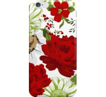 Beautiful red roses pattern on a white background. iPhone Case/Skin