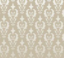 Damask vintage pattern. Gold background by LourdelKaLou