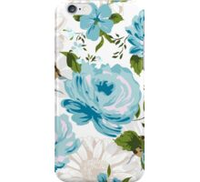 Beautiful blue roses pattern on a white background.  iPhone Case/Skin