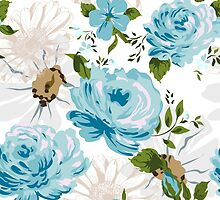 Beautiful blue roses pattern on a white background.  by LourdelKaLou